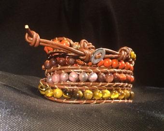 Brown Leather 4-Wrap Power-Stone Beaded Wrap Bracelet