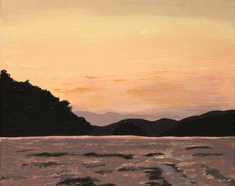 Lake sunset wake waterside living landscape painting