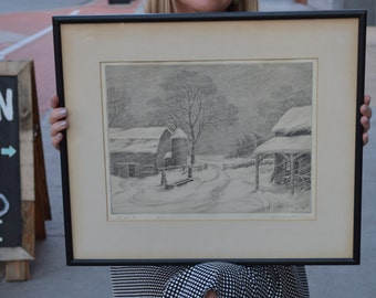 Snowed In - Original Vintage Etching - R.W. Woiceske - Signed and Numbered Edition - 50