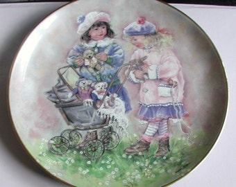 "Leonardo Collection Plate ""The Old Pram"" by Christine Haworth Fine Porcelain Collectable"