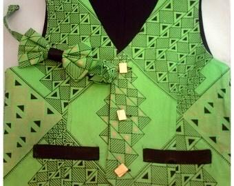 Boy's vest, reversible vest, Boy's African print  vest with bowtie, Boy's green vest