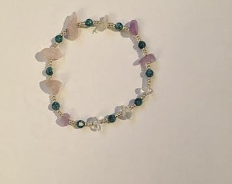 Turquoise and lavender beaded bracelet