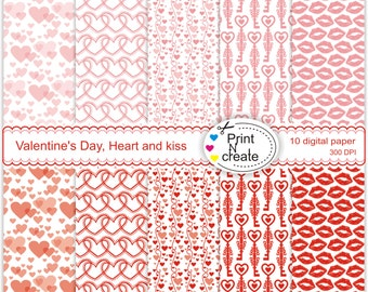 Valentine's Day, paper pad, heart and kiss, scrapbooking paper, digi paper, digital paper heart, SALE
