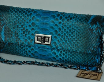 100% Genuine Exotic Python Skin Evening Bag/Clutch with Leather and Chain Straps