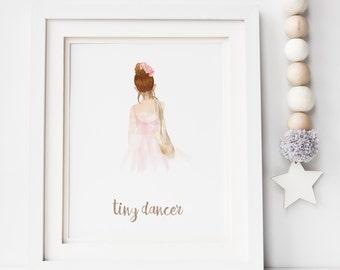 Personalised Watercolour Ballerina Print - Tiny Dancer Print