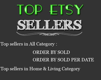 Top Etsy sellers Top selling shops Most popular shop Best sellers Top sellers in Home Living Category Top Sellers all Category,TOP 1000 SHOP