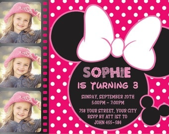 Minnie Mouse Invitation, Minnie Mouse Birthday, Disney Invitation, Minnie Mouse Invites, Minnie Mouse Invitation Printable | MS 31