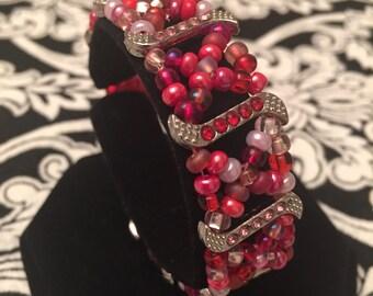 Pink and red valentine bracelet