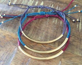 Gold or Silver Tube Bracelet : Choose your favorite color