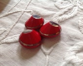 3 Red Deco Buttons. Silve...