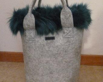 Fur felt bag-Chic Fur Bag-faux fur grey blue