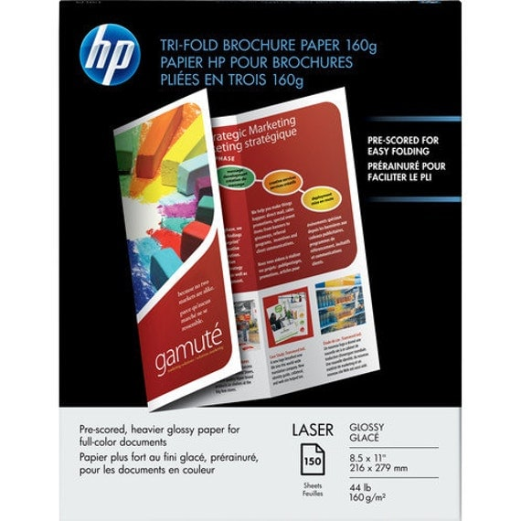 Hp Q6612a Laser Glossy Tri Fold Brochure Paper Letter