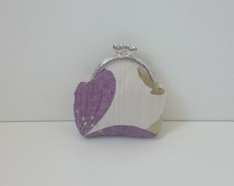 Linen Coin Purse in Purple and Silver Abstract Design