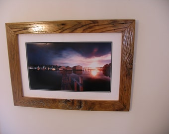 Rustic, barnwood picture frame of reclaimed Tennessee barnwood timbers.