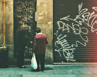Barcelona Photography, Two Ladies Talking on the Street, Street Photography, Spain, Travel Photography, Wall Art, Home Decor, Spanish Art