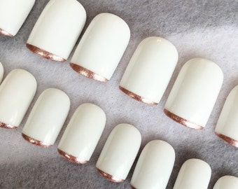 White With Rose Gold Tip Faux Nails * Rose Gold Tips * Squoval Nails * Fake Nails * Glue On Nails * White Nails * French Nails