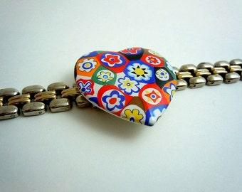 Millefiori Heart Watch Band Bracelet