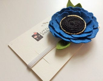 Felt flower alligator clip or headband - Bright Blue Poppy with gold and black center and green leaves