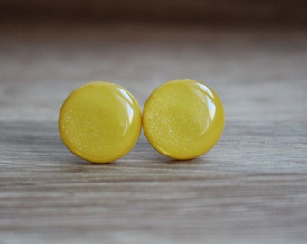 Yellow Stud Earrings. SAFFRON SHIMMER STUDS. yellow earrings. yellow studs. Surgical Steel Post.