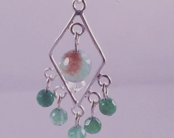 Green agate and Sterling silver chandelier earring
