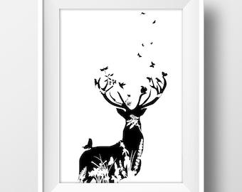 Ciervo con flores, primavera, imprimible, arte para pared, láminas imprimibles, Poster, tipografía, motivacional