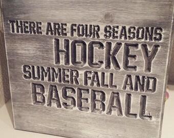 Hockey and Baseball Wall Hanging