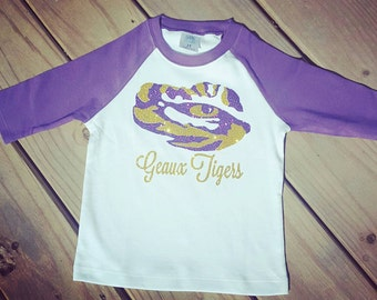 Lsu raglan shirt, purple raglan shirt, eye of the Tiger shirt, lsu shirt , geaux Tigers shirt, lsu shirt