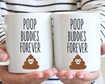 Best Friends Poop Buddies Coffee Mug - Poop Emoji - Dishwasher Safe - Microwave Safe - Ceramic Mugs -  Tea - Funny Mugs