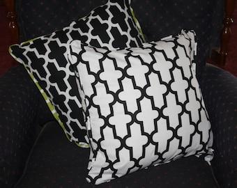 Cushion cover modern geometric fretwork black white green