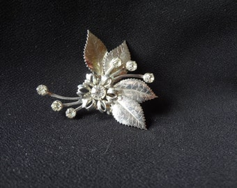Brooch Pin 40's Silver Tone with Clear Rhinestones