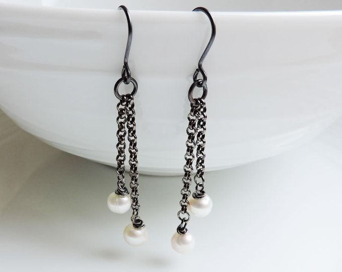 Featured listing image: Long gunmetal and white pearl earrings - Cascade black chain and freshwater pearl hook wire drops - Large ivory white pearls, handmade