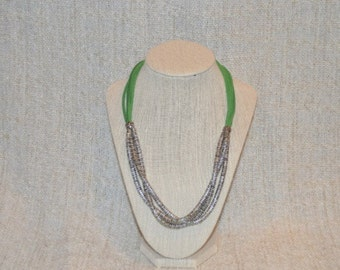 Suede and silver plated beads