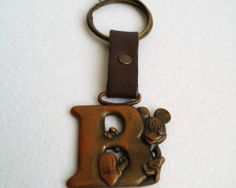 Vintage Copper Tone Disney Mickey Mouse Keychain