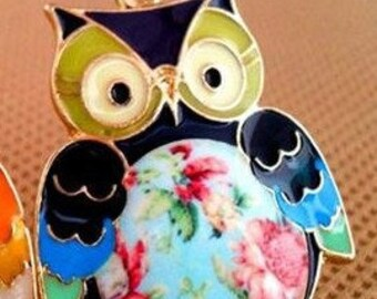 Painted Owl Pendant Necklace