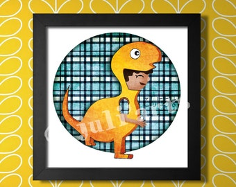 Printable illustration yellow dinosaur