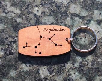 Sagittarius zodiac constellation urban wood keychain // birthday gift //
