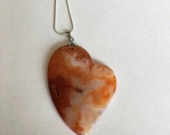 Orange agate heart shape pendant