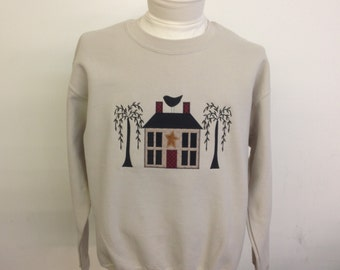 House With 2 Trees Applique Sweatshirt