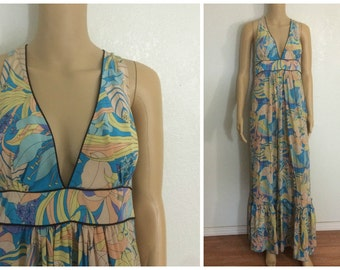 Silk Tall Maxi Dress 70s / Razor Back / Halter Top Dress / Print Dress / Large
