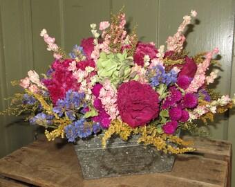 Flower Container, Dried Flower Centerpiece, Dried Flower Arrangement, Table Centerpiece, Centerpiece, Tin Container with Dried Flowers