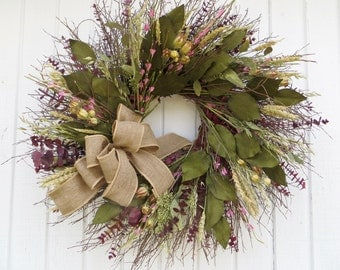 Large Twig Wreath, Exlarge Twig Wreath, Dried floral Wreath, Burgundy and Green Wreath, Twig Wreath, Twig wreath with Dried Flowers, Burlap