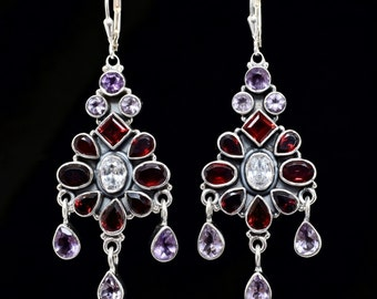 Amethyst Garnet earrings,Handmade earrings,Sterling Silver earrings,Chandelier earrings, Leverback earrings, Large earrings