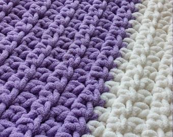 Large Crochet Blanket   Lavender   White   Oversized, Chunky Crochet   Machine Wash/Dry   Custom-Made   Bulky Yarn