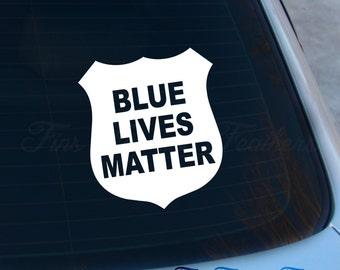 Blue Lives Matter Decal - #BlueLivesMatter Sticker - Pro Police - Police Support - Blue Line - Cop - Macbook - Car Decal