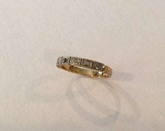 Art Deco 18k Yellow and White Gold Ring