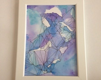 5x7 Original Abstract Watercolour with Geometric Detail - Dreamscape