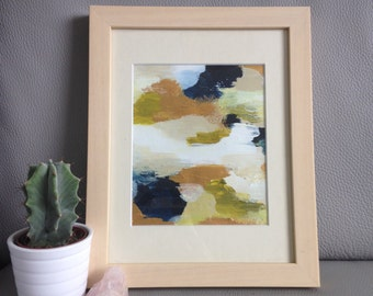 """Original Abstract Acrylic Painting - Mounted & Framed 8x10"""""""