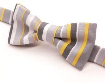 Grey & Yellow Bowtie, Yellow and Grey Bow tie, Men's Grey and Yellow Pre-tied Bow tie, Yellow Bow tie, Grey Bow tie, Yellow and Grey