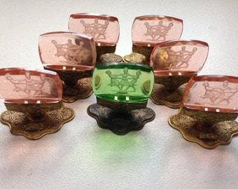 Vintage Czechoslovakian Intaglio Glass Place Card Holders,  Seven,  #126