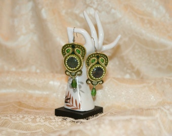 Handmade Green olive Soutache earrings for Woman's accessories